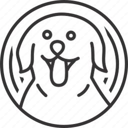 animal, circle, dog, line, lineart, pattern icon