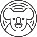 animal, circle, koala, line, lineart, pattern icon