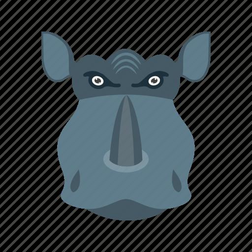 africa, big, face, horn, rhino, wildlife icon