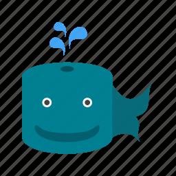 animal, cute, face, fin, sea, underwater, whale icon