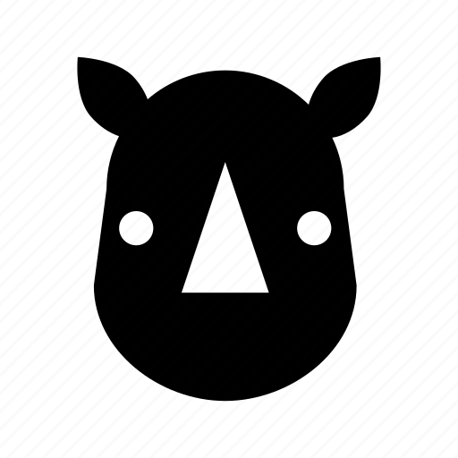 horn, rhino, rhino face, rhinoceros, wild animal icon