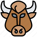 buffalo, cattle, farm, horn, mammal icon