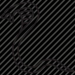 cobra, danger, poisonous, reptile, reptilian, snake, wild icon