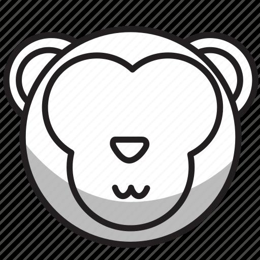 animal, avatar, face, monkey, outline, zoo icon