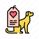 animal, dog, label, love, shelter, worker icon
