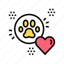 building, heart, love, paw, pet, shelter icon