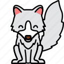 animal, arctic, fox, silver icon