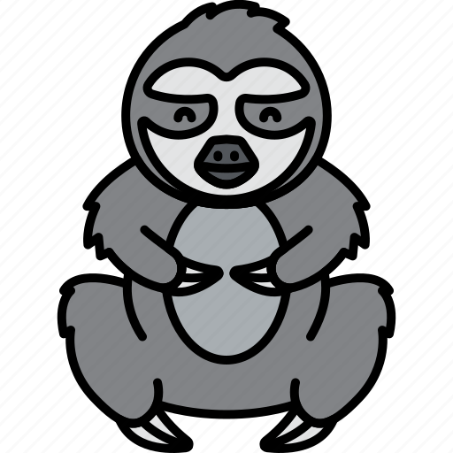 Animal, lazy, sloth, gray icon - Download on Iconfinder