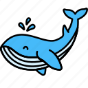 animal, fountain, sea, whale icon
