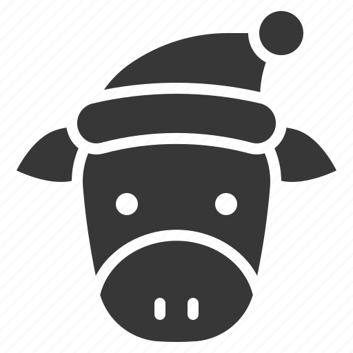 animal, christmas, cow, hat icon