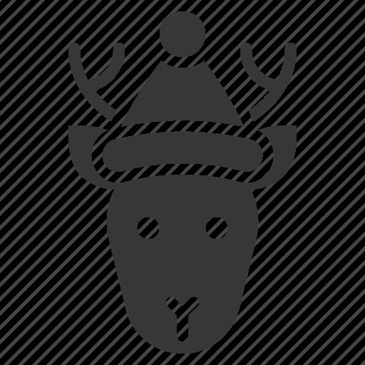 animal, christmas, deer, hat, reindeer icon