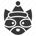 animal, christmas, hat, raccoon, rodent icon