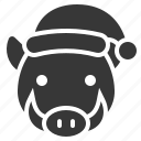 animal, christmas, hat, merry, wild boar icon