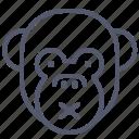 face, monkey, noise, silent, smile, tranquility icon