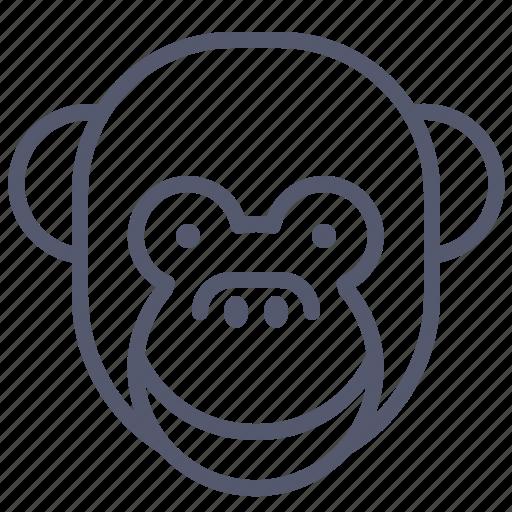face, happy, monkey, smile icon