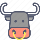 bull, cow, domestic, milk, peasant icon