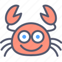 crab, food, funny, happy, sea icon