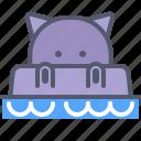 hippo, pool, rest, swim, water, zoo icon