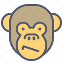 bored, confused, face, monkey, smile icon