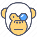 experiment, face, glasses, monkey, science, smile, study icon
