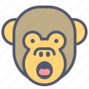 face, loud, monkey, scream, shout, smile icon