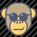 chick, face, monkey, sea, smile, sun, sunglasses icon