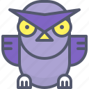 angry, bird, night, owl, prepared, ready, study icon