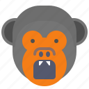 angry, attack, danger, face, monkey, smile icon