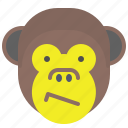 bored, confused, face, monkey, smile