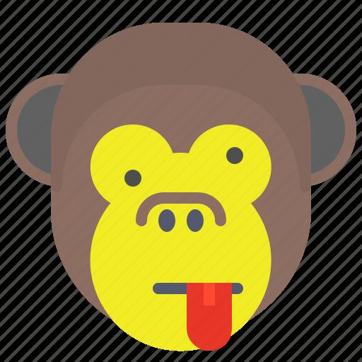 face, monkey, naughty, smile, tongue icon