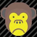 depressed, face, monkey, sad, smile