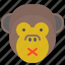 1, face, monkey, noise, silent, smile, tranquility icon