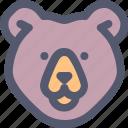 animal, animals, bear, face, nature, wild, wildlife icon