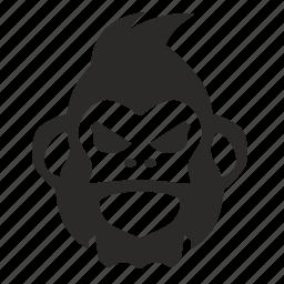 angry, face, gorilla, monkey, rage icon