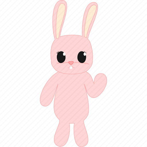 bunny, hare, pink, teddy icon