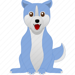 blue, dog, white, wild, wolf icon