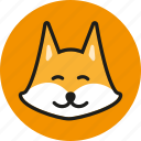 animal, cute, fox, head, logo, wild, zoo icon