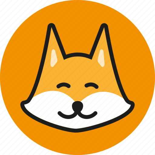 animal, cute, fox, head, logo, wild, zoo icon