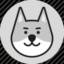 animal, cute, head, logo, wild, wolf, zoo icon