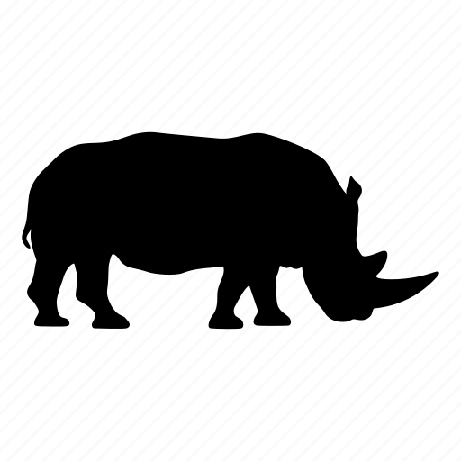 africa, animal, rhino, rhinoceros, rhinocerous, safari, silhouette icon