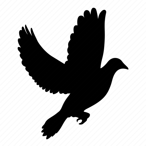 animal, bird, birds, dove, peace, pigeon, silhouette icon