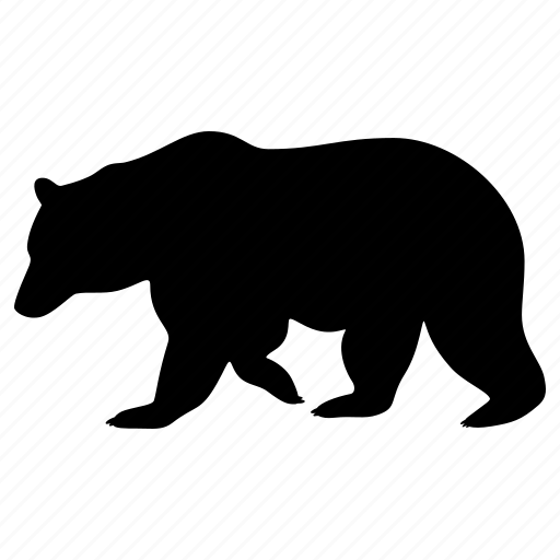 animal, bear, grizzly, nature, silhouette, wild, zoo icon