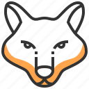 animal, face, fox, head, wolf icon