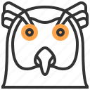 animal, bird, face, head, owl icon