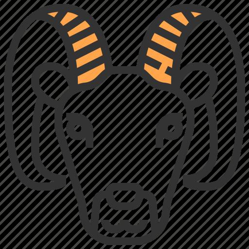 animal, face, goat, head icon