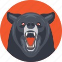 animal, bear, bear face, mammal, roaring bear icon