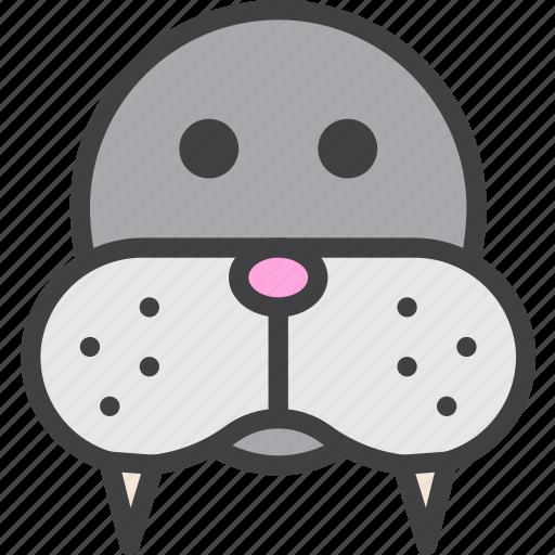 head, morse, walrus, zoo icon