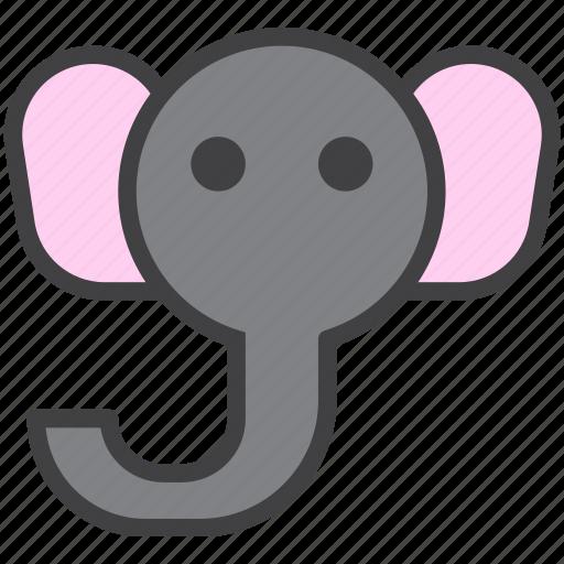 elephant, head, zoo icon