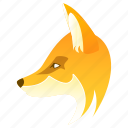 animal, animals, cartoon, face, fox, wolf icon