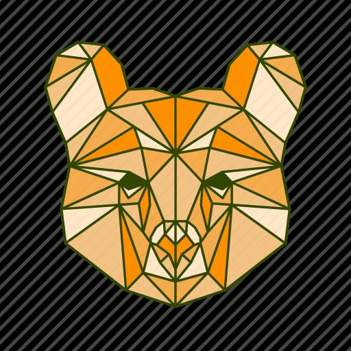 animal, bear, beast, facet, geometric, monster icon